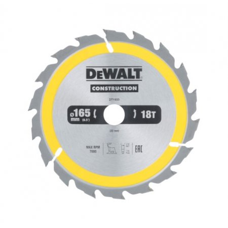 Pilový kotouč DeWALT CONSTRUCTION 165x20 mm
