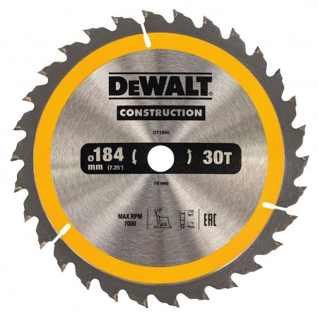 Pilový kotouč DeWALT CONSTRUCTION 184x16 mm