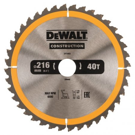 Pilový kotouč DeWALT CONSTRUCTION 216x30 mm